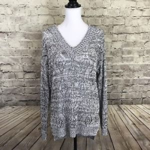 RD Style Black White Loose Knit V-Neck Sweater